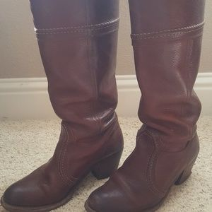 Frye Jane14 Stitch Redwood Leather Tall Boot